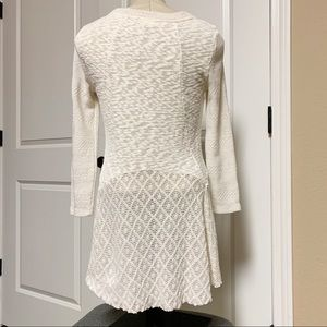 Anthropologie Sweaters - Anthro Meadow Rue Ivory Crochet Hi Low Sweater S